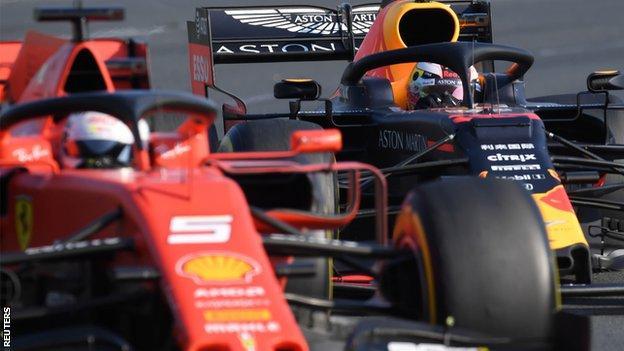 Sebastian Vettel and Max Verstappen during the Australian Grand Prix