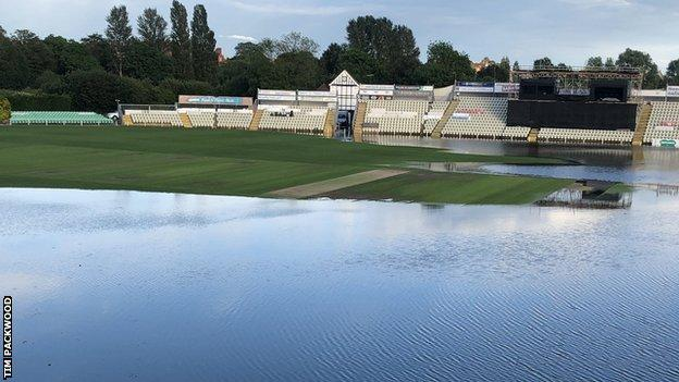 Worcestershire groundsman Tim Packwood published this picture on Twitter to show the extent of the damage so far at New Road