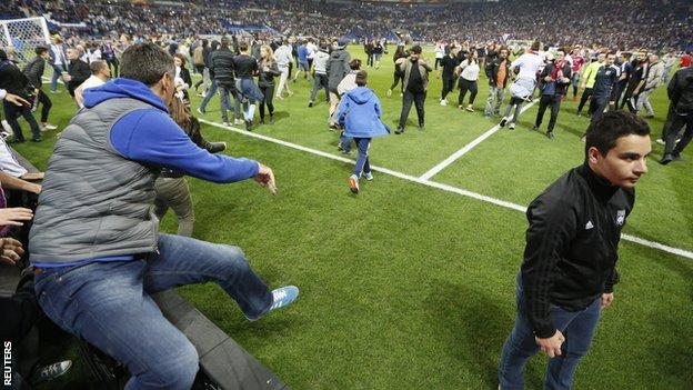 The 20:05 BST kick-off was delayed as a result of the crowd disturbances