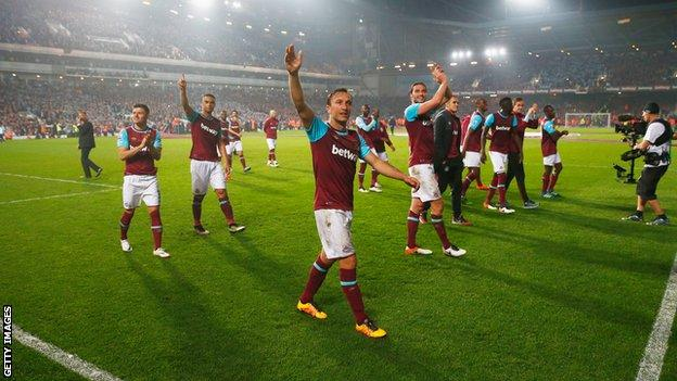 West Ham players celebrate after the final whistle