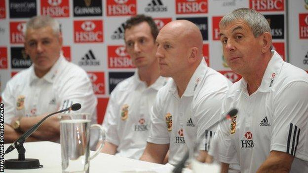 2009 British and Irish Lions tour Sir Ian McGeechan with his coaching staff Shaun Edwards, Rob Howley and Warren Gatland