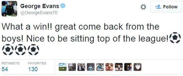 George Evans tweet
