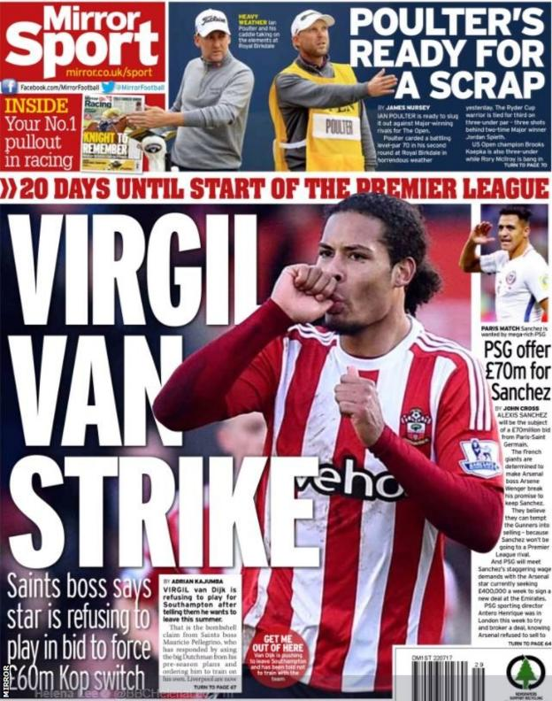 The Mirror also run with wantaway defender Virgil van Dijk