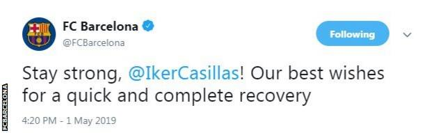 Iker Casillas posted an update on Twitter after suffering a heart attack