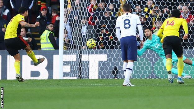Troy Deeney misses a penalty for Watford against Tottenham