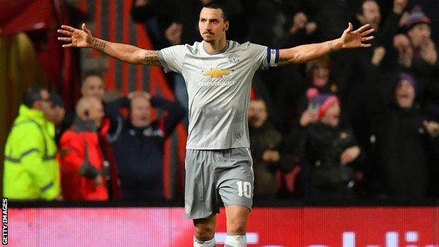 Zlatan Ibrahimovic celebrates a goal for Manchester United