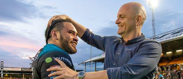 Konrad Hurrell and Richard Agar share a laugh