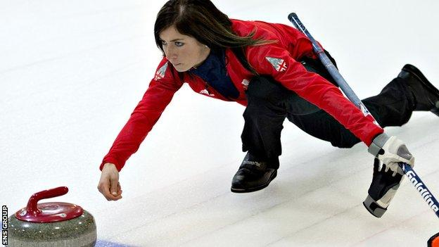 Eve Muirhead in action at the 2014 Winter Olympics