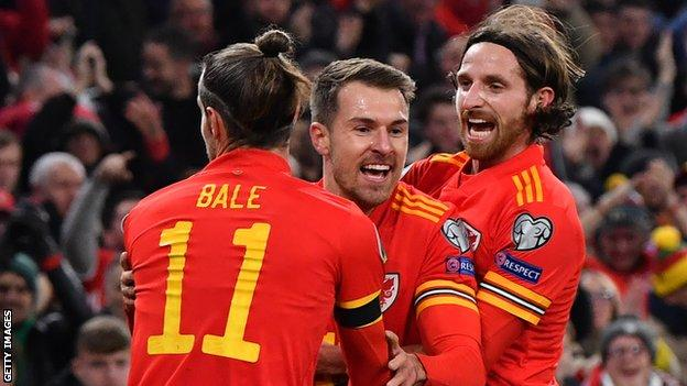 Wales celebrate Ramsey's first goal