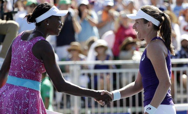 Venus Williams (left) congratulates Johanna Konta in Stanford