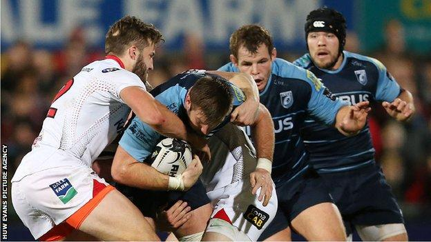 Cardiff Blues in action against Ulster in the Pro12