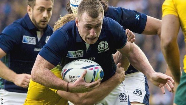Full-back Stuart Hogg runs with the ball during Scotland's World Cup quarter-final defeat by Australia