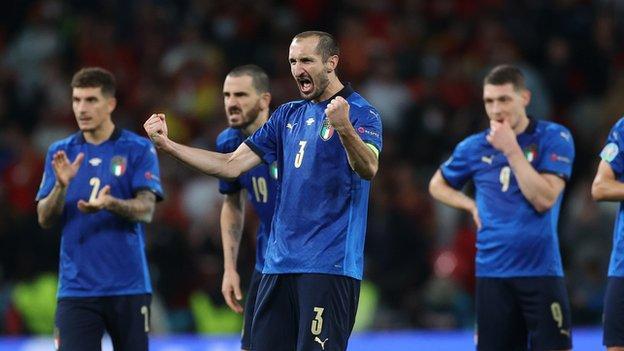 Chiellini celebrating penalty against Spain