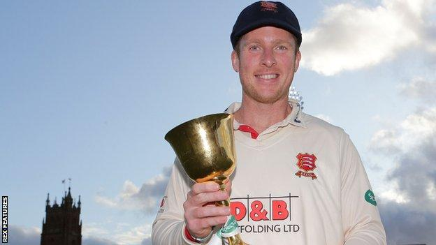 Simon Harmer with the County Championship trophy