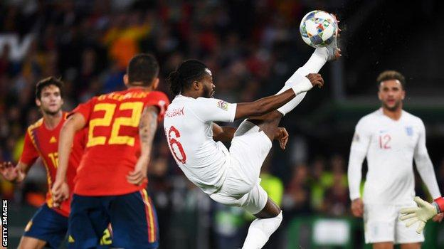 Nathaniel Chalobah playing for England against Spain in 2018
