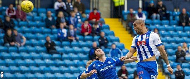 Josh Magennis scores for Kilmarnock against St Johnstone