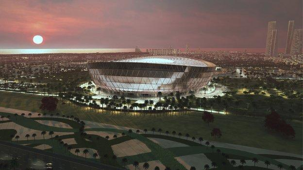 CGI design of the 85,000-seater Lusail Stadium in Qatar, which is set to host the opening and final games of the 2022 World Cip