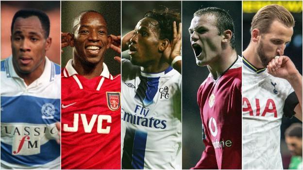 Left to right - Les Ferdinand, Ian Wright, Didier Drogba, Wayne Rooney and Harry Kane