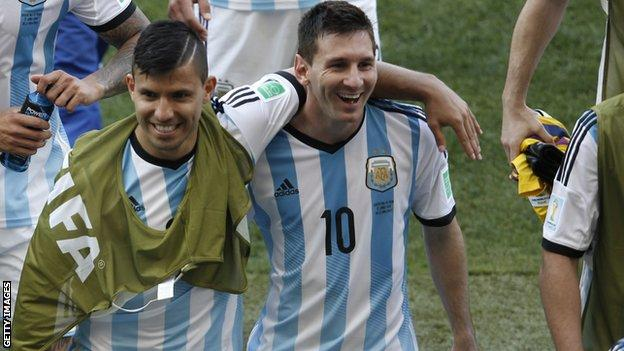 Sergio Aguero and Lionel Messi in 2014