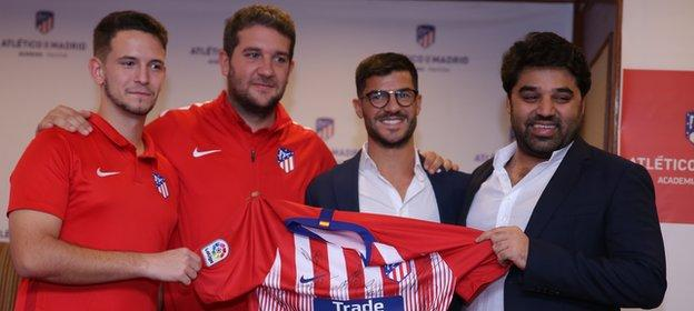 Coaches Javier Visea and Daniel Limones (left) have moved to Pakistan and are overseen by Atletico's international academy manager Fernando Lobete (centre right) and academy director Omer Sheikh (right)