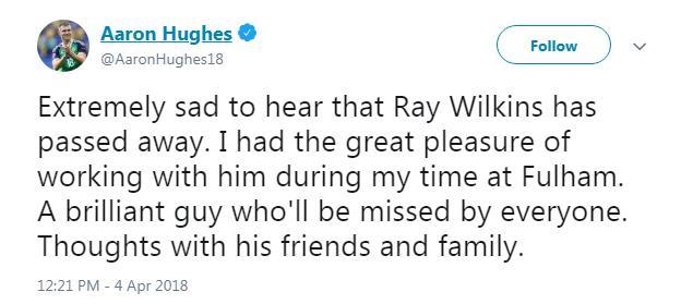 Aaron Hughes tweets a tribute to the deceased Ray Wilkins