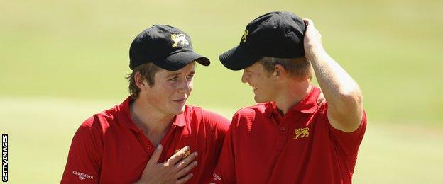 Eddie Pepperell and Tom Lewis play together during a tournament in Italy in 2010