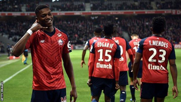 Rafael Leao celebrates scoring for Lille