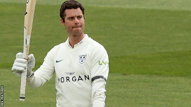 Worcestershire opener Jake Libby by reaches his century against Essex