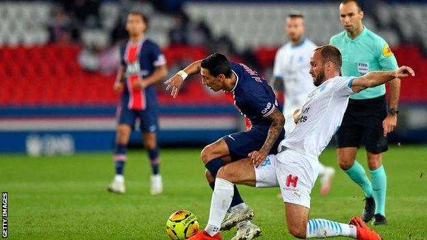 Angel di Maria in action for PSG against Marseille