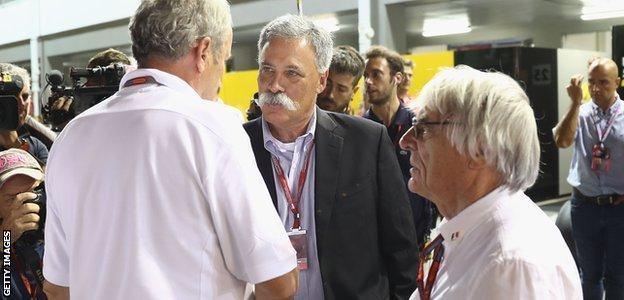 Chase Carey, Helmut Marko and Bernie Ecclestone
