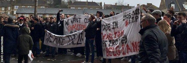 Charlton fans protesting at The Valley