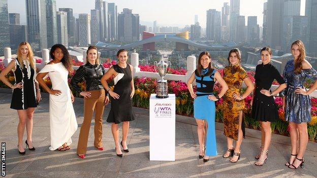 The eight players taking part in the WTA finals in Shenzhen