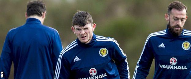 Oliver Burke in training with Scotland