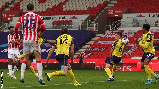 Tyrese Campbell (left) scored twice in two minutes to put Stoke 2-1 ahead.