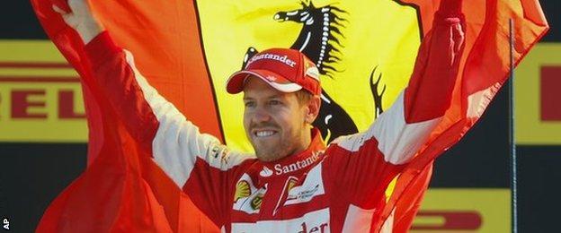 Sebastian Vettel celebrates finishing second at the Italian Grand Prix