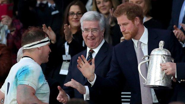 Prince Harry presented the Calcutta Cup to winning England captain Dylan hartley