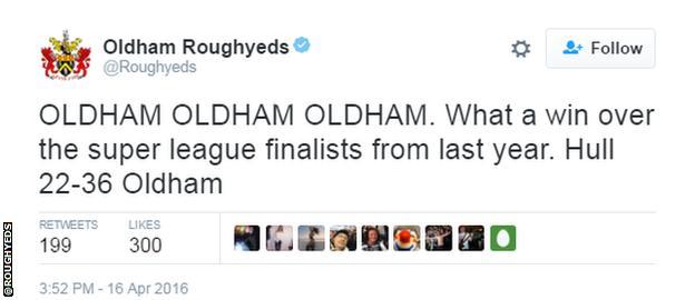 Oldham Roughyeds tweet