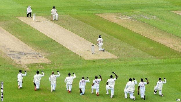 England and West Indies players taking a knee during last summer's Test series