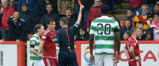 Aberdeen lost Jonny Hayes (right) to a red card