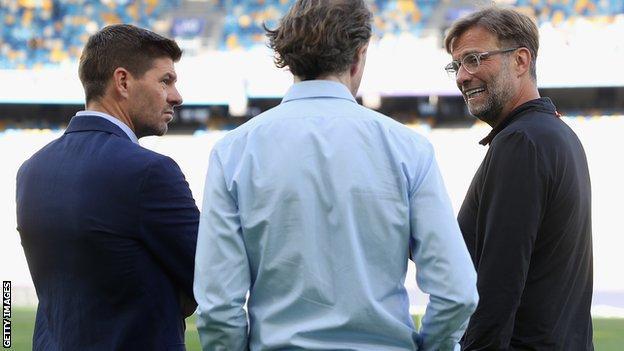 Rangers manager Steven Gerrard (left) and Liverpool boss Jurgen Klopp (right)