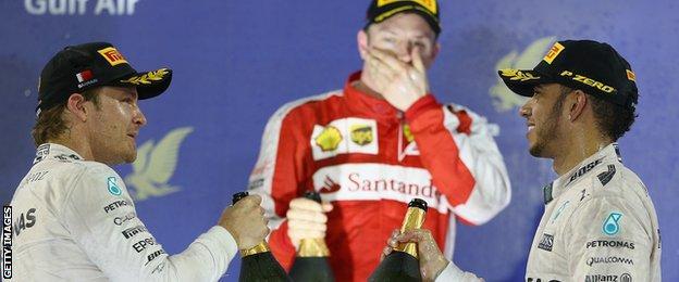 Kimi Raikkonen, Nico Rosberg and Lewis Hamilton