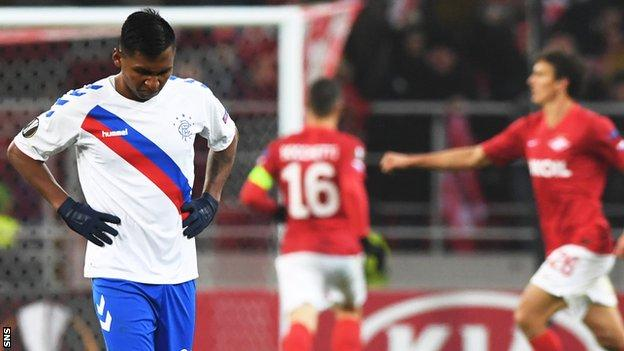 Rangers' Alfredo Morelos is left disappointed as Spartak Moscow celebrate