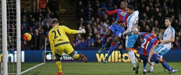 Yannick Bolasie scores Crystal Palace's fourth goal against Newcastle