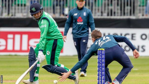 Gary Wilson scampers in to deny England's Joe Denly in the ODI at Malahide in 2019