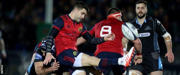 Conor Murray makes a clearance from a back of a ruck in Munster's recent European game against Glasgow