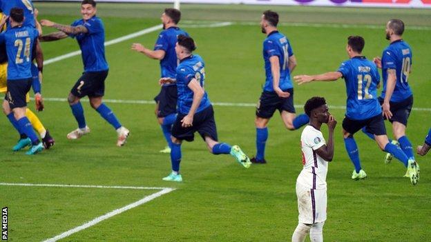 Bukayo Saka aft  his punishment  miss   with Italy subordinate    celebrating