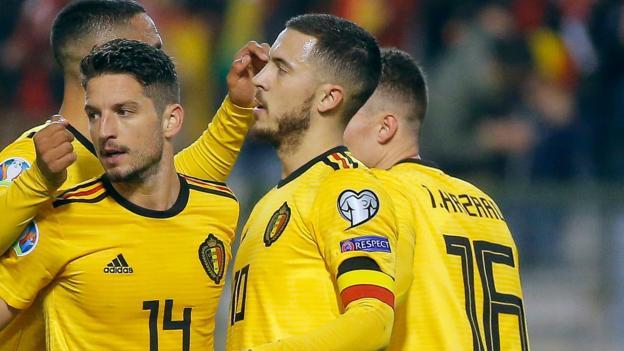 Belgium 3-1 Russia: Eden Hazard scores twice in Euro 2020 qualifier thumbnail