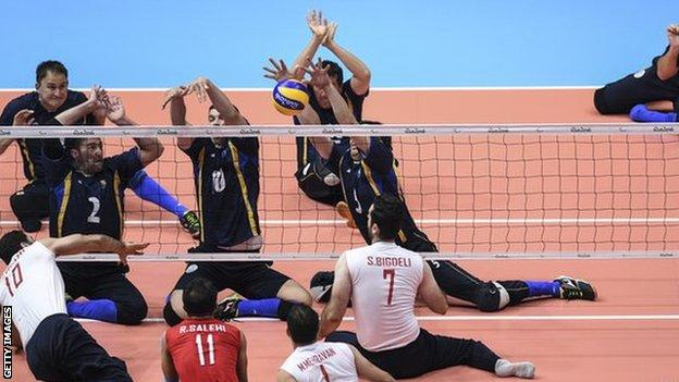 Iran and Bosnia-Herzegovina compete during the men's sitting volleyball gold-medal match at Rio 2016