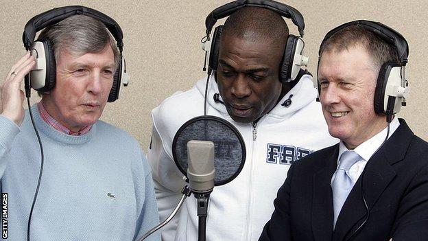Frank Bruno (centre) and Sir Geoff Hurst (right) have both paid tribute to Peters