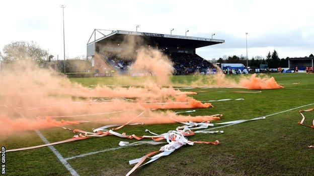 Smoke bombs at Stair Park, Stranraer